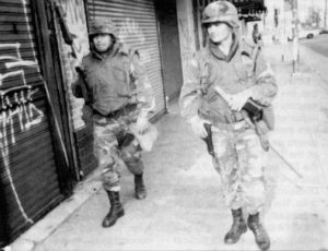 2,000 California Army National Guardsmen patrolled the city to enforce the law in the 1992 Los Angeles riots.